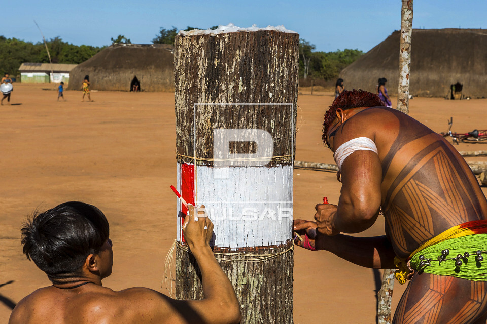 Indígenas da aldeia Afukuri etnia Kuikuro pintando troncos de madeira que simbolizam os mortos homenageados d