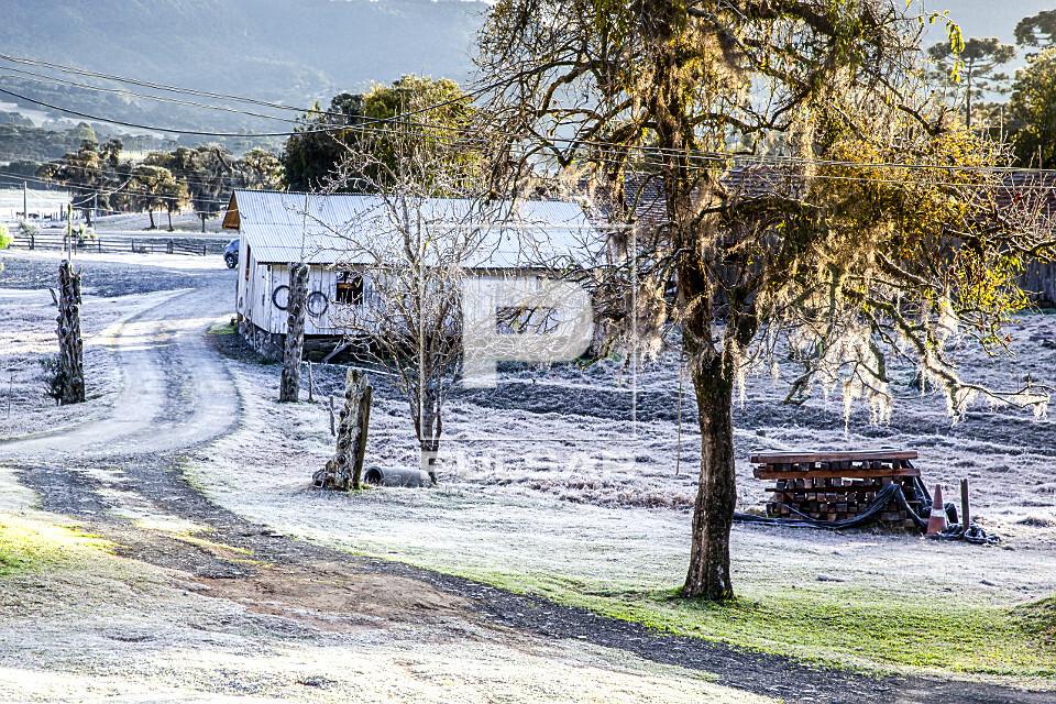 Propriedade rural coberta por gelo após geada