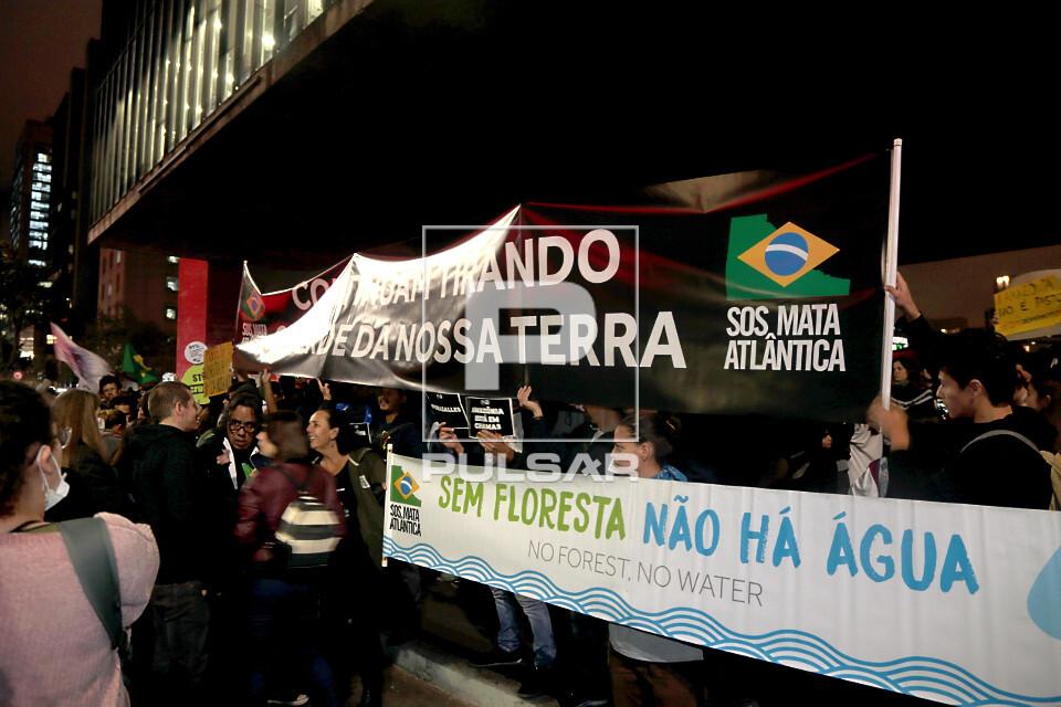 Faixas durante manifestação em favor da Amazônia na Avenida Paulista