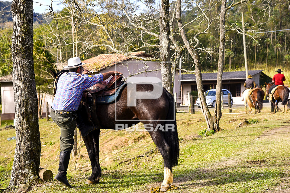 Pessoa subindo em cavalo em sítio
