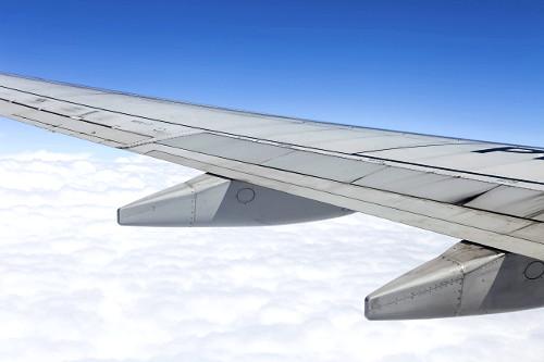 Asa de avião durante voo