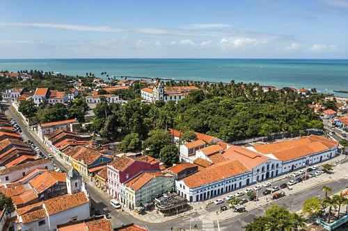 Vista aérea de drone do centro de Olinda
