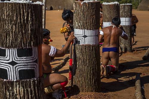 Indígenas da aldeia Afukuri etnia Kuikuro pintando troncos de madeira - simbolizam os mortos homenageados dur