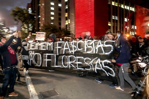 Manifestação em favor da Amazônia na Avenida Paulista - faixa queimem fascistas não florestas