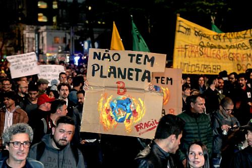Manifestação em favor da Amazônia na Avenida Paulista - cartaz não tem planeta B