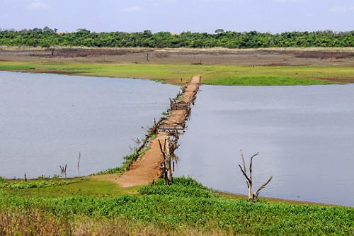 Antiga estrada de terra e ruínas de ponte que estavam submersas no Córrego do Limoeiro com baixo nível de �