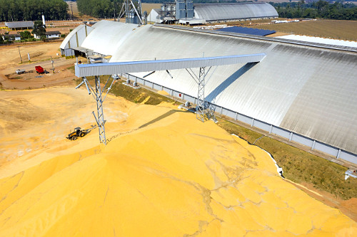 Vista de drone de armazém graneleiro com milho de super safra estocado ao ar livre