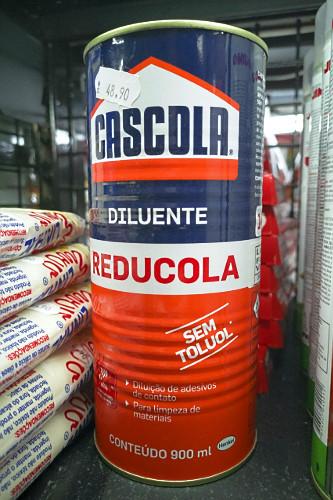 Embalagem de diluente com aviso de que não contém toluol ou tolueno