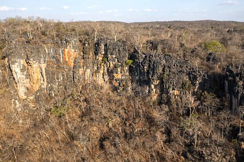 Vista de drone de afloramento calcário e floresta Eetacional decidual