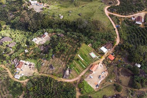 Vista de drone de pequenas propriedades rurais com plantação de bananas, café e canteiros de hortaliças