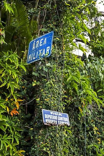 Placas da área militar e da Rua Deputado Cantídio Nogueira Sampaio em poste coberto por trepadeira unha-de-g